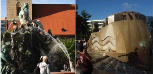 """Der Neptunbrunnen (Reinhold Begas, 1891) vor dem Roten Rathaus und der """"Wasserklops"""" (Weltkugelbrunnen, Joachim Schmettau, 1983) vor dem Europa Center. Fotos: Verena Pfeiffer-Kloss"""