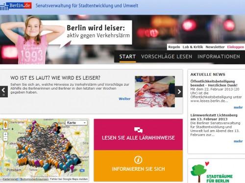 Screenshot zum Online-Dialog (Senatsverwaltung für Stadtentwicklung und Umwelt / Zebralog)