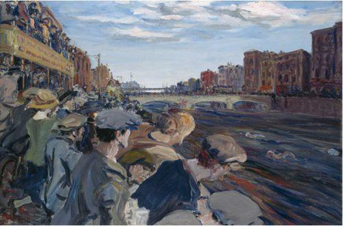 """1924 mit einer Silbermedaille in Malerei ausgezeichnet: Jack Butler Yeats für """"The Liffey Swim""""."""