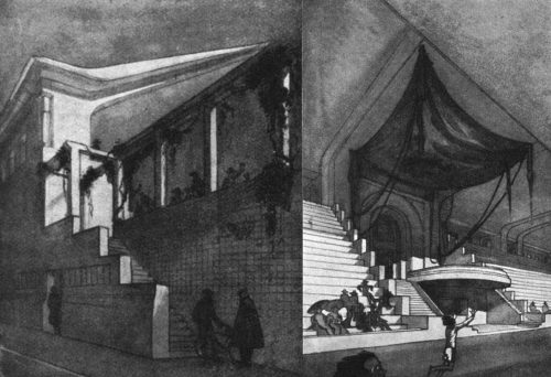 'Un Stadium pour Monte-Carlo': Profil der großen Tribüne (links), Ehrenloge (rechts)