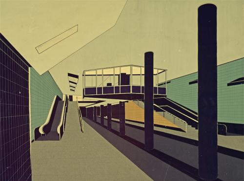 Haltestelle Alter Teichweg von Fritz Trautwein, 1963. Collage als Farbstudie. Hamburgisches Architekturarchiv