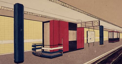 Farbstudie zur Haltestelle Lohmühlenstraße. Collage, Fritz Trautwein, 1960. Hamburgisches Architekturarchiv