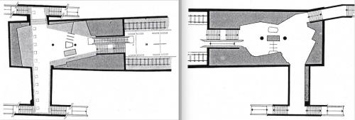 Links der Grundriss der Schalterebene und Straßenunterführung der Haltestelle Ritterstraße von Sandtmann und Grundmann, 1962. Rechts die Grundrissgestaltung von Hans Christoph Rübcke in der Station Wartenau, 1962.. Bauwelt, Heft 31, 1963, S. 884-885