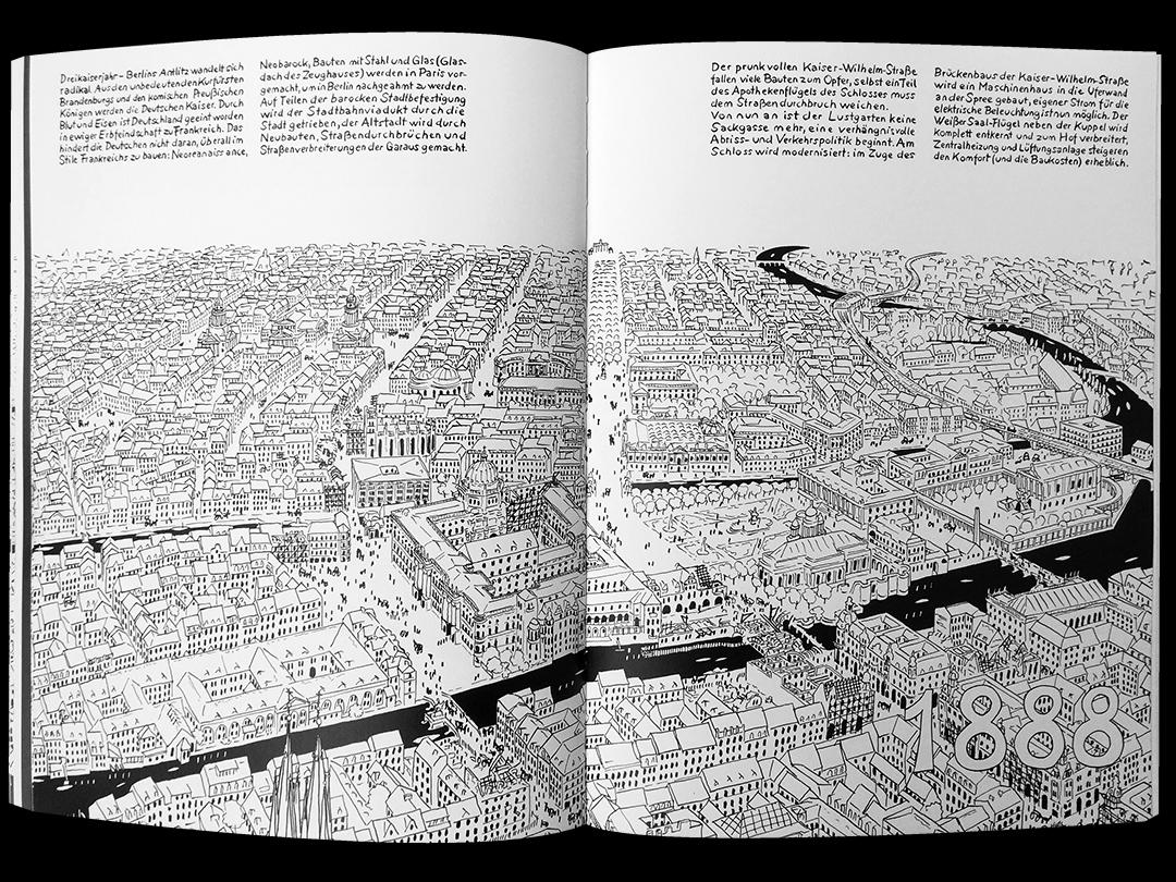 Panorama aus Comic zum Berliner Schloss von Sebastian Strombach